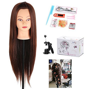 29 Inch Brown Yaki Mannequin Head Hair Synthetic Cosmetology Mannequin Manikin Training Head Model with Clamp