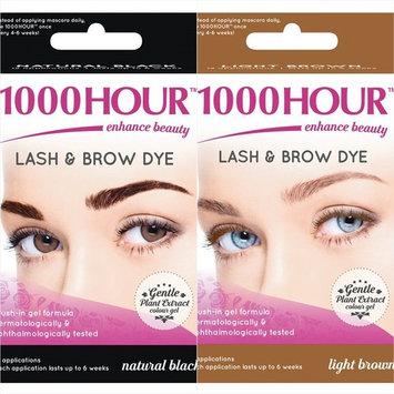 1000 Hour Eyelash & Brow Dye Kit Permanent Mascara Natural Gentle Plant Extract (Natural Black & Light Brown)