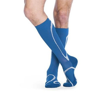 Sigvaris 412CXS62 Extra Large Ankle Short Leg Closed Toe Traverse Socks for Men & Women - Steel Blue