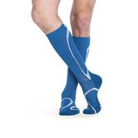 Sigvaris 412CSL62 Small Ankle Long Leg Closed Toe Traverse Socks for Men & Women - Steel Blue