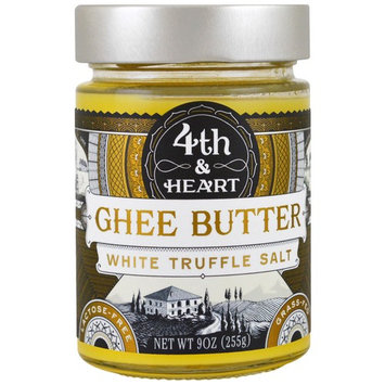4th & Heart, Ghee Butter, Grass-Fed, White Truffle Salt, 9 oz (225 g) [Flavor : Truffle Salt]