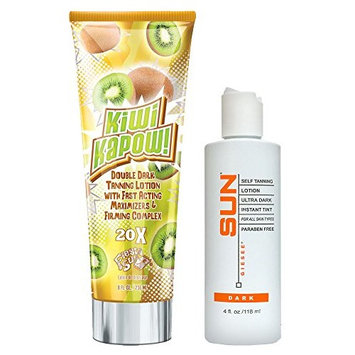 Fiesta Sun Kiwi Kapow Tanning Lotion + SUN LABORATORIES Ultra Dark Self Tan Lotion (4 oz) Self Tanner - Natural Sunless Tanning