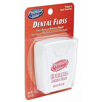 Premier Value Dental Floss Unwaxed - 100 yd
