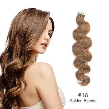 Body Wave Tape in Hair Extensions Remy Human Hair Glue in Extensions Seamless Skin Wefts Golden Blonde (#16) 20