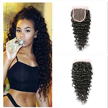 Brazilian Virgin Human Hair Deep Wave Lace Closure 4