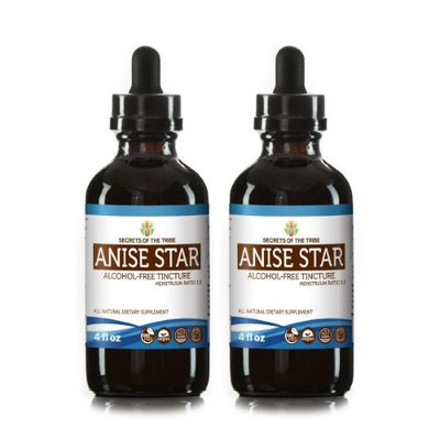 Secrets Of The Tribe Anise Star Tincture Alcohol-FREE Extract, Organic Anise star (Illicium verum) Dried Fruit 2x4 oz