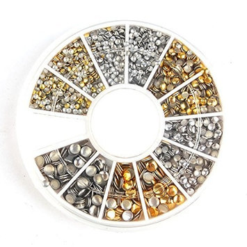 enForten 500Pcs 1.2mm/2mm/3mm Mini Gold And Silver Round Stud Rhinestone Nail Art Decoration w/box