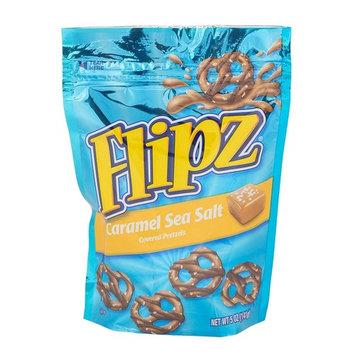 Flipz Caramel Sea Salt Milk Chocolate Covered Pretzels, 4.5 Pound (Pack of 8)