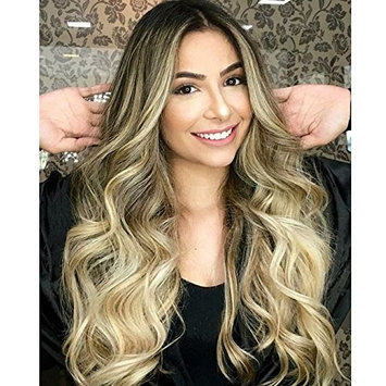 Black Roots Ombre Blonde Wig Best Synthetic Hair Wavy Wig Heat Resistant Hair Weave Full Wigs For Women 26 inches