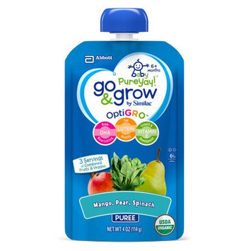 Abbott Laboratories,abbn7 Go & Grow by Similac Pouches with OptiGRO, Mango, Pear, Spinach Puree, For 6+ Months, Organic Baby Food, 4 oz (Pack of 6)