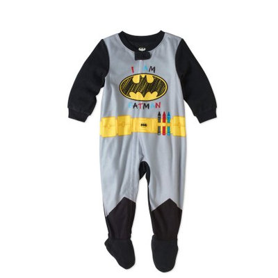 Batman Newborn Baby Boys' Bat Belt Micro Fleece Footed Pajama