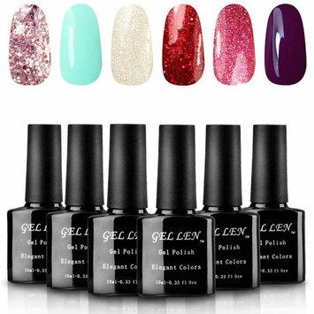 Gellen UV Gel Nail Polish Set - Pure Shimmering Glitters Series Popular Nail Art 6 Colors 10ml Each