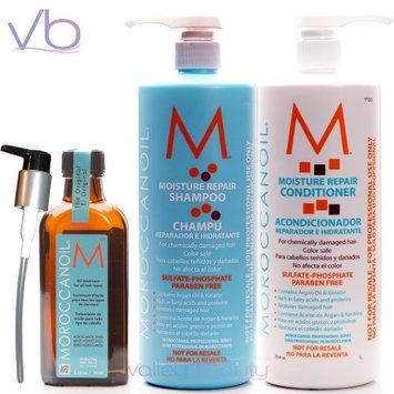 Moroccanoil Shampoo (33.8 Oz.), Conditioner (33.8 Oz) and Oil Treatment (3.4 Oz) Set