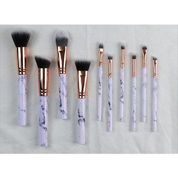 10 Piece Makeup Brush Set Premium Face Eyeliner Blush Contour Foundation Cosmetic Brushes for Powder Liquid Cream White Marble Makeup Brush Set by DreamCut