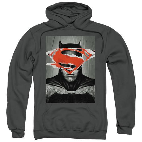 BATMAN VS SUPERMAN/BATMAN POSTER-ADULT PULL-OVER HOODIE-CHARCOAL-3X