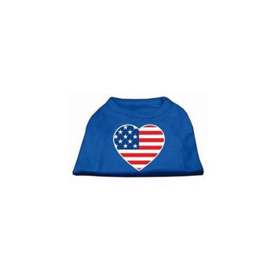 Ahi American Flag Heart Screen Print Shirt Blue Sm (10)