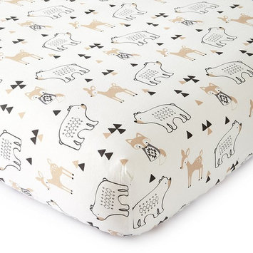 Levtex Baby Bailey Charcoal and White Collection Print Fitted Crib Sheet [Crib Fitted Sheet]