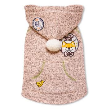 Touchdog Hippie Designer Sleeveless Pompom Dog Hooded Sweater Light Pink
