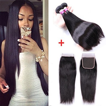 IUEENLY Brazilian Straight Hair 3 Bundles With Closure 7A Unprocessed Brazilian Virgin Human Hair With Lace Closure Free Part Natural Color (16 18 20+14)