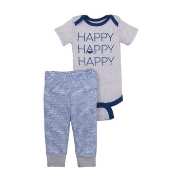 Little Star Organic Newborn Baby Boy Bodysuit & Pant 2pc Outfit Set