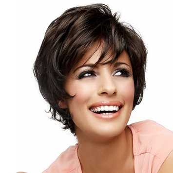 Asifen Short Layered Wigs with Side Bangs Natural Human Hair Wigs for Women(Color 6 Deep Brown)