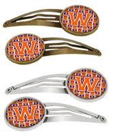 Letter W Football Orange, White and Regalia Set of 4 Barrettes Hair Clips CJ1072-WHCS4