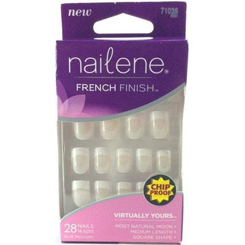 Nailene French Finish Virtually Yours 28 Glue on Nails 14 Sizes Medium Length Square Shape Chip Proof Glue Included 71039 (1 Box)
