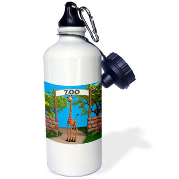3dRose A giraffe at the zoo, Sports Water Bottle, 21oz