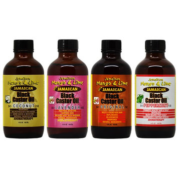 Jamaican Mango & Lime Black Castor Oil 4 pieces 4oz 'Set' (Pack of 4)