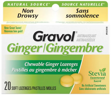 Certified Organic Ginger GRAVOL (20 Chewable Lozenges) Antinauseant for NAUSEA, VOMITING & MOTION SICKNESS