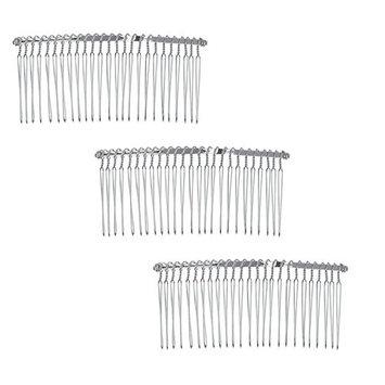 6 Pcs Wire Silver Hair Comb Wedding Bridal Make Veil Crafts Supply DIY 3 Inch