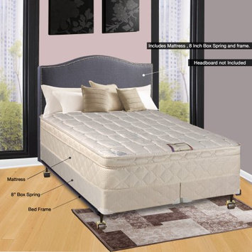 Comfort Bedding of USA Continental Sleep Pillow Top Orthopedic Assembled 9' Mattress and Box Spring with Frame, King