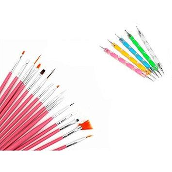 15pcs Pink Nail Brushes & 5pcs Natural Dotting Pen Marbleizing Tool