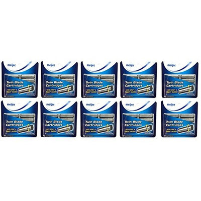 Twin Blade Cartridges with Lubricating Strip, 10 Count (Pack of 10) + FREE Travel Toothbrush, Color May Vary