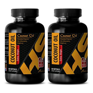 Stress relief supplement - COCONUT OIL EXTRA VIRGIN - Coconut pills for weight loss - 2 Bottle 120 Softgels