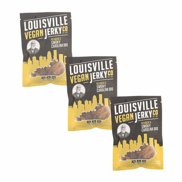 Louisville Vegan Jerky - Smokey Carolina BBQ, Vegetarian & Vegan Friendly Jerky, 21 Grams of Non-GMO Soy Protein, Gluten-Free Ingredients (3 oz) | 3-Pack