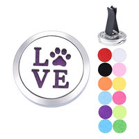 Car Diffuser vent clip Stainless Steel Aromatherapy Essential Oil Diffuser Car Air Freshener Pet Paw LOVE Magnetic Locket with 12 Felt Pads 30mm