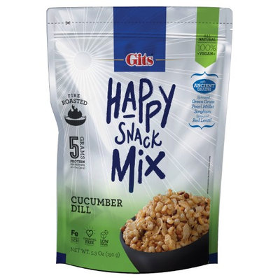 Gits Happy Snack Mix Fire Roasted Sprouted Ancient Grains All Natural Vegan Snack - Cucumber Dill (Pack of 12)