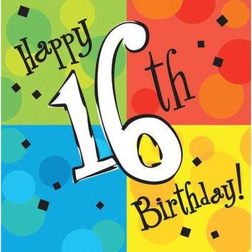 Cake Celebration Happy 16th Birthday Party Supply Napkins 16 Ct.