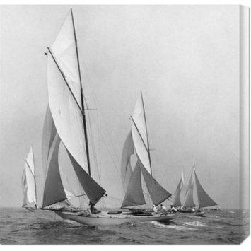 Edwin Levick 'Sailboats Sailing Downwind, 1920' Stretched Canvas Art