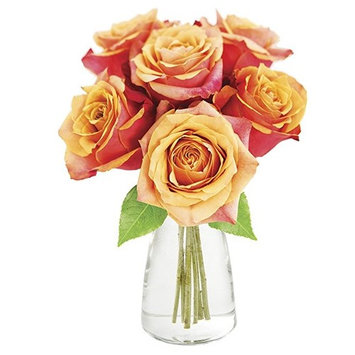 KaBloom: Bouquet of 6 Orange Roses in a Glass Vase - Fresh Flowers for Delivery