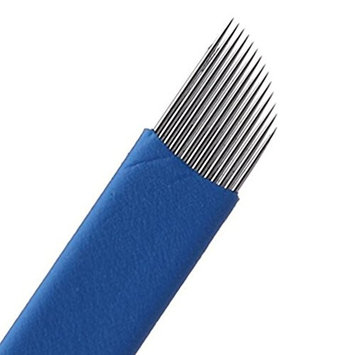 TAROMAING 50 pcs Blue 18-Pin Permanent Makeup Manual Eyebrow Tattoo Needles Blade For 3D Embroidery Microblading Tattoo Pen Machine