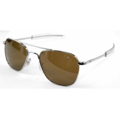 AO Original Pilot Sunglasses, Bayonet, Silver Frame, Brown Glass Lens, Polarized