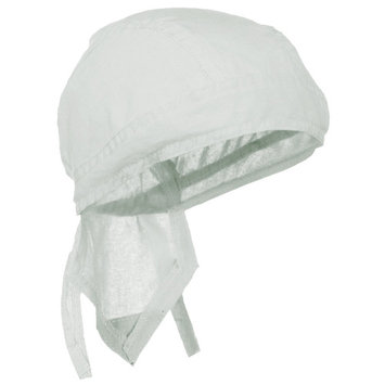 WHITE Doo Rag Durag Chemo Headwrap Solid Color Bandana Cotton Skull Cap for Men or Women