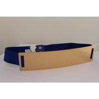 Women Elastic Belt Blue High Waist Hip Gold Metal Mirror Plate Fashion Plus M L