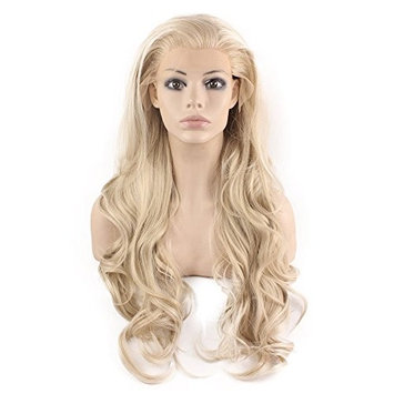 Mxangel Long Wavy Celebrity Natural Hairline Ash Blond Synthetic Lace Front Wig