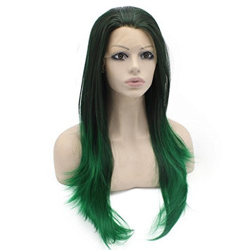Medium Long Straight Brown Green Ombre Wig Half Hand Tied Fiber Lace Front Wig Natural at Mxangel