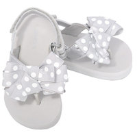 L'Amour Silver Polka Dot Bow Wedge Flip Flop Sandals Toddler Girl 5-10
