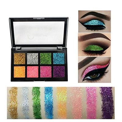 Shimmer Glitter Shiny Glowing Eyeshadow Palettes Diamond Long-lasting Waterproof with Silky Shine Color Makeup Eyeshadow 8 Colors Eyeshadow Palettes