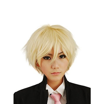 HH Building Cosplay Wig Men's Short Layered Halloween Costume Hair Wig (Blonde)